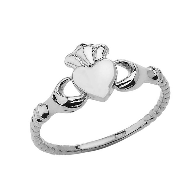 Chic Traditional Irish Claddagh Ring in White Gold