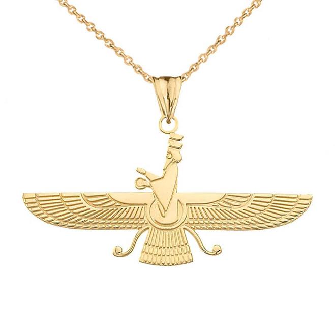 Faravahar Pendant Necklace in Yellow Gold