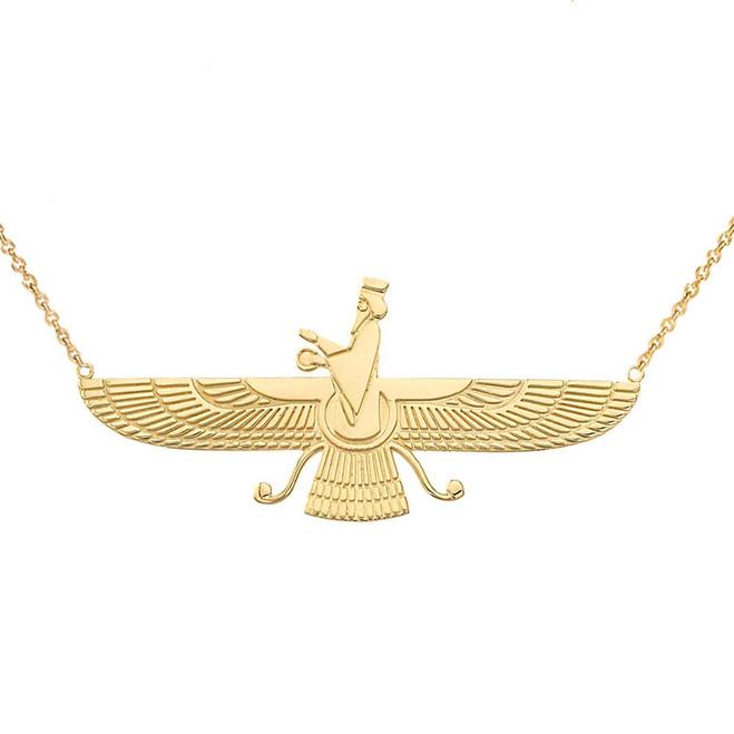Faravahar Necklace in 14K Yellow Gold