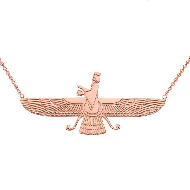 Faravahar Necklace in 14K Rose Gold