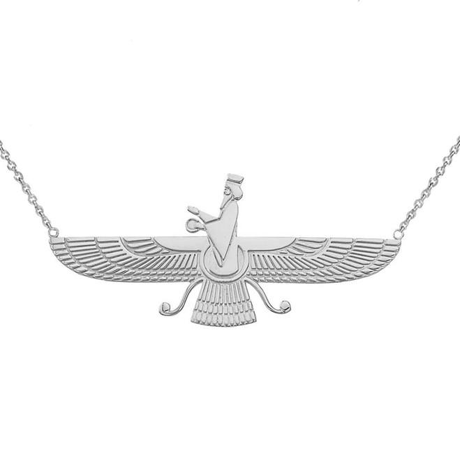 Faravahar Necklace in 14K White Gold