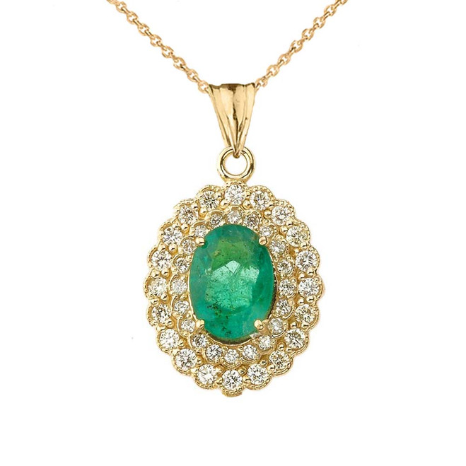 Genuine Emerald & Diamond Pendant Necklace in Yellow Gold