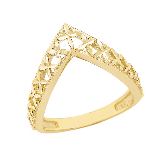 Solid Yellow Gold Flower of Life V Shape Sparkle Cut Ring