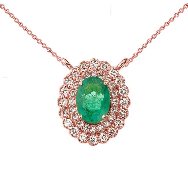 Genuine Emerald & Diamond Necklace in 14K Rose Gold