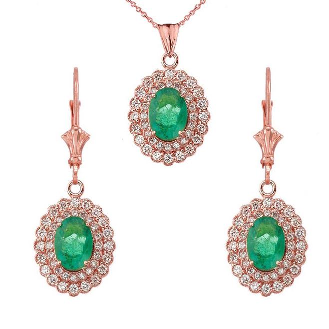 Genuine Emerald & Diamond Pendant Necklace Set in 14K Rose Gold