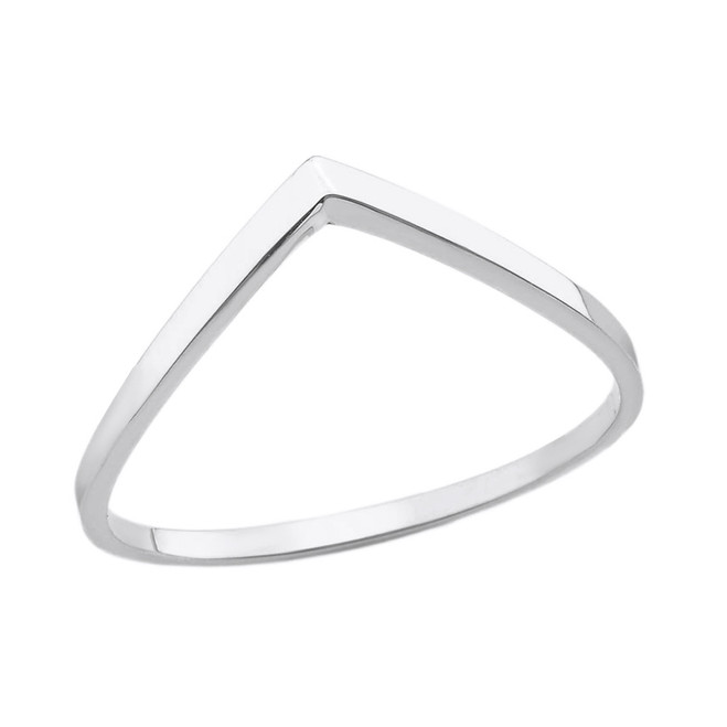Sterling Silver Stackable V Shape Wish Ring