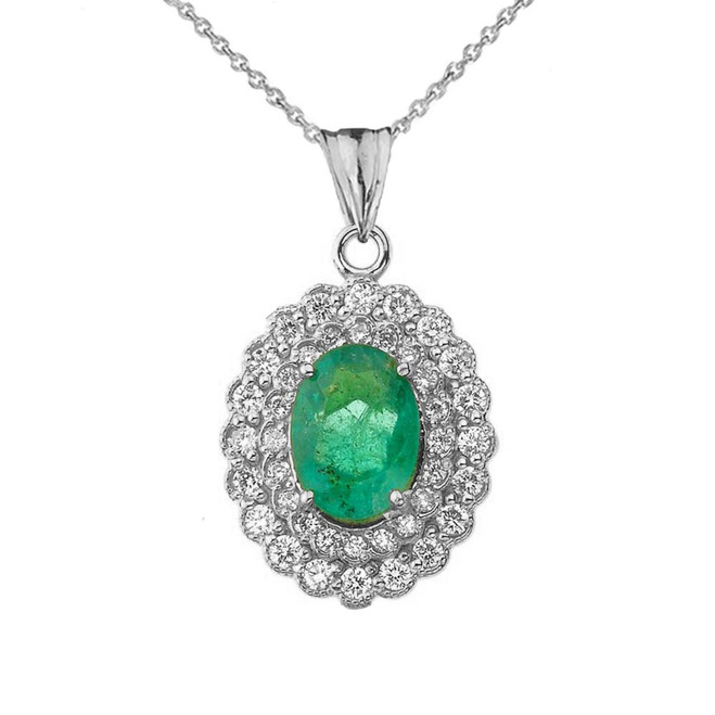 Genuine Emerald & Diamond Pendant Necklace in White Gold