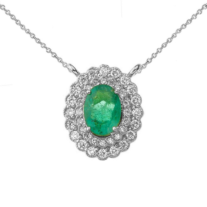 Genuine Emerald & Diamond Necklace in 14K White Gold