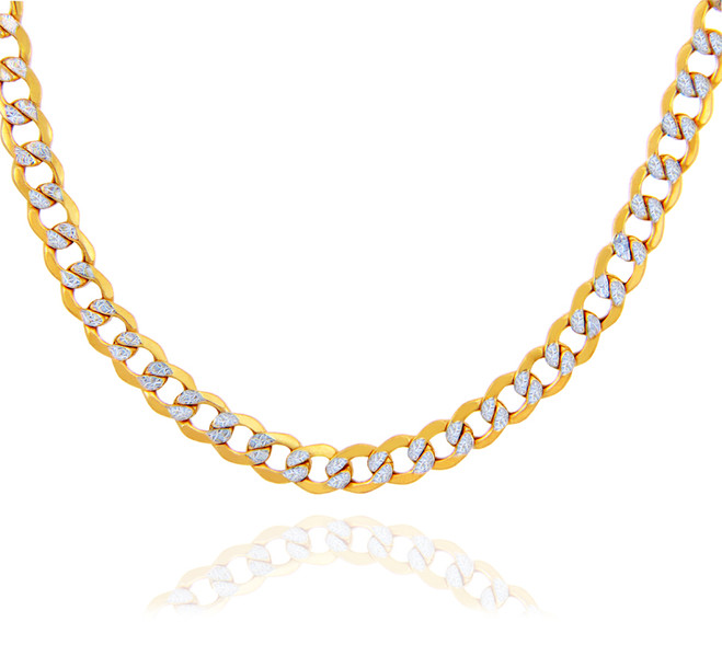 Gold Chains Hollow Cuban Pave 10K Gold Chain 6.18mm
