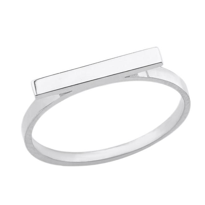 Sterling Silver Horizontal Bar Minimal Ring