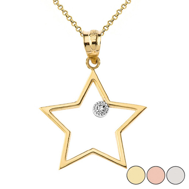 Star Outline Solitaire Pendant Necklace in Gold (Yellow/Rose/White)