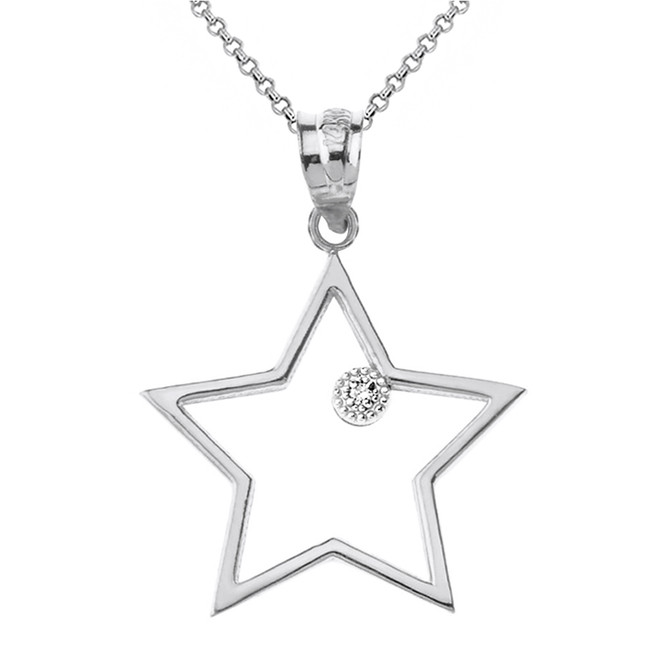 Sterling Silver Star Outline CZ Pendant Necklace