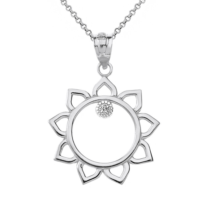 Sterling Silver Sunflower Outline CZ Pendant Necklace