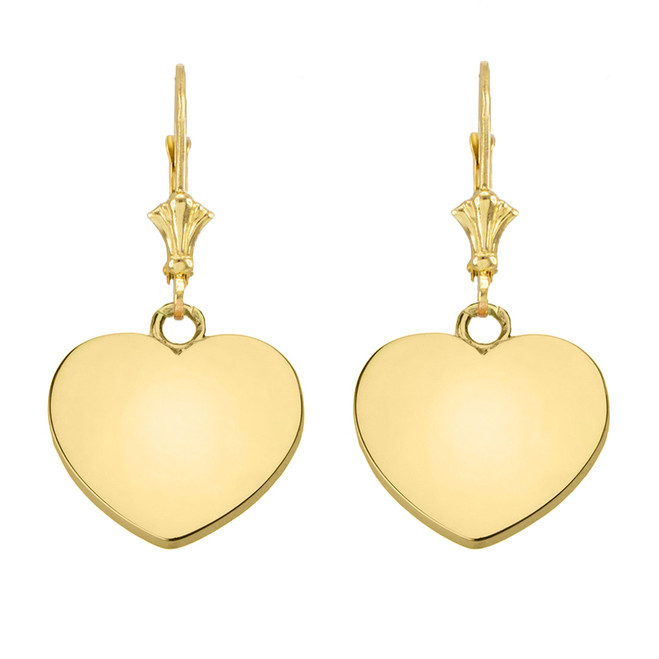 Solid 10K Yellow Gold Simple Heart Leverback Earrings