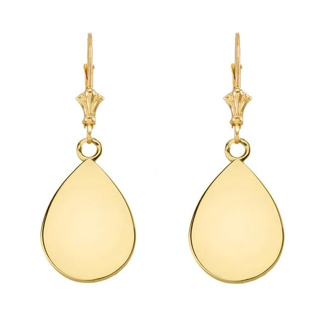 Solid 10K Yellow Gold Simple Tear Drop Leverback Earrings