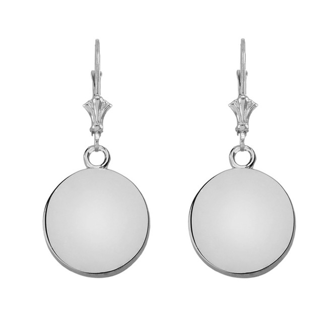 Solid Sterling Silver Gold Simple Round Leverback Earrings