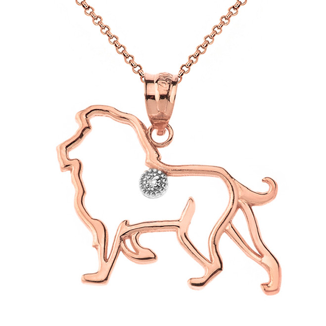 Solid Rose Gold Lion Outline Solitaire Pendant Necklace
