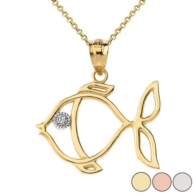 Tropical Reef Fish Outline Solitaire Pendant Necklace in Gold (Yellow/Rose/White)