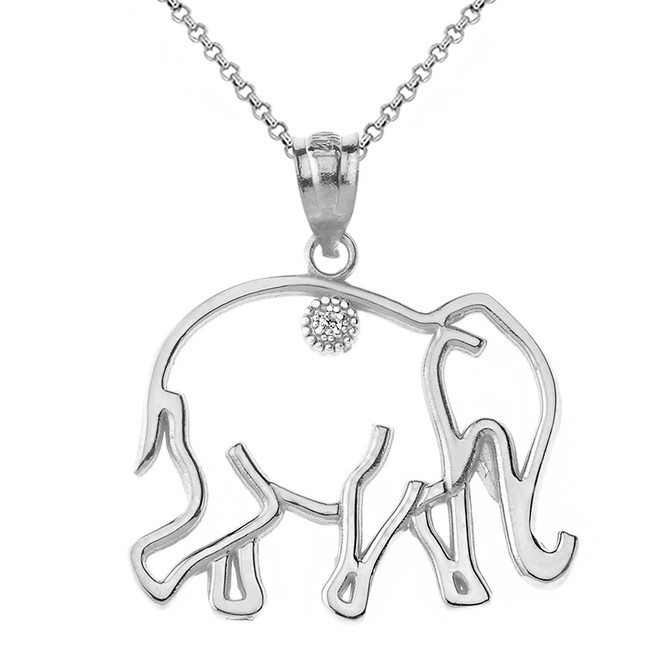Solid White Gold Elephant Outline Solitaire Pendant Necklace