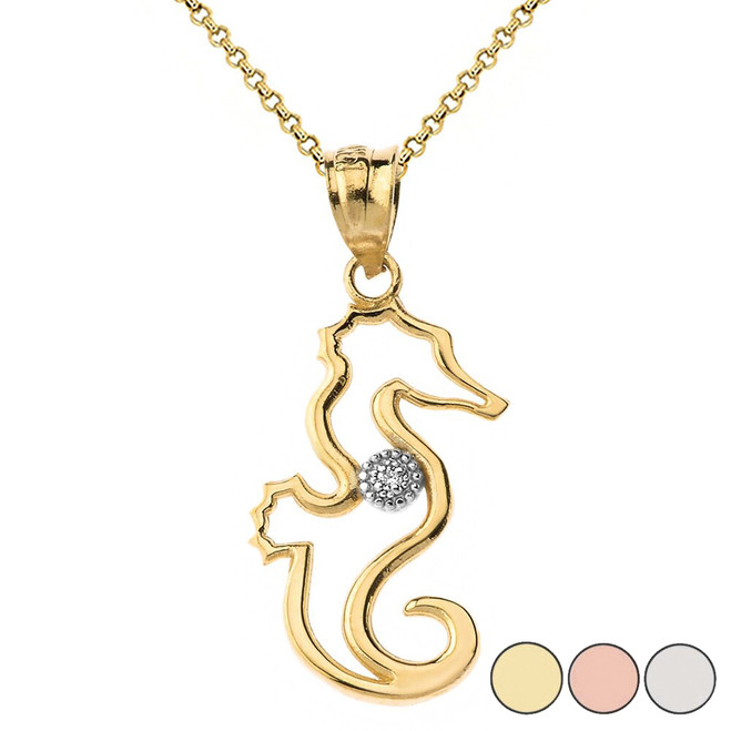 Seahorse Outline Solitaire Pendant Necklace in Gold (Yellow/Rose/White)