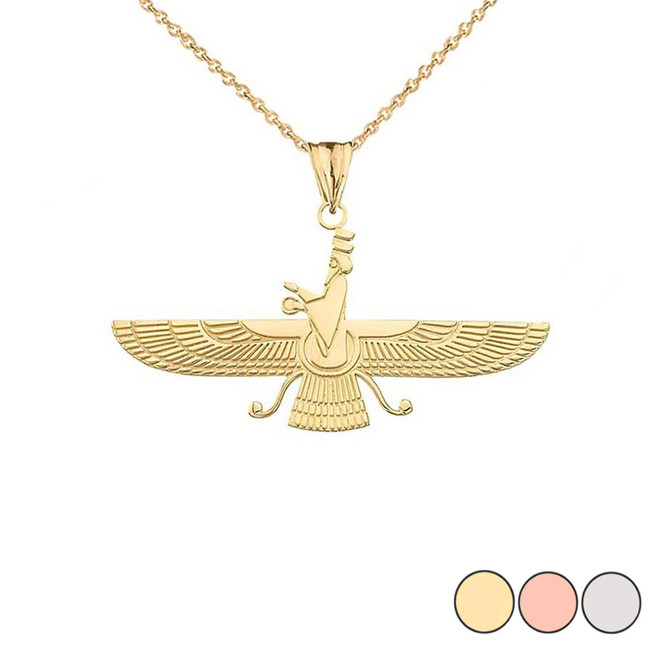 Dainty Faravahar Pendant Necklace in Gold (Yellow/Rose/White)