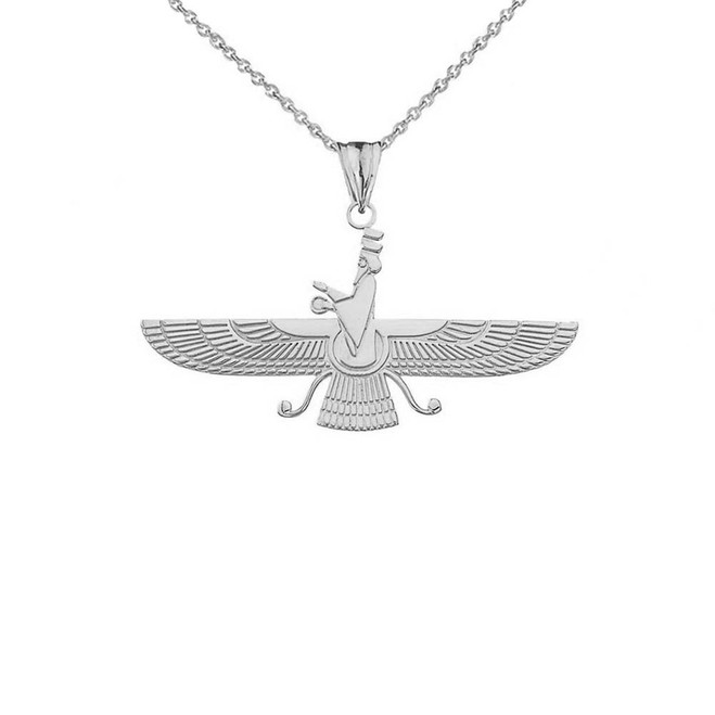 Dainty Faravahar Pendant Necklace in Sterling Silver