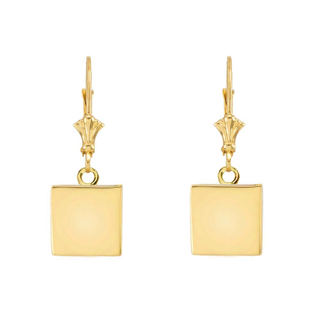 Solid 10K Yellow Gold Simple Square Shaped Leverback Earrings