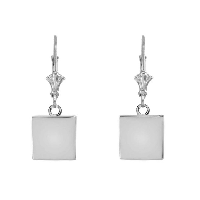 Solid White Gold Simple Square Shaped Leverback Earrings