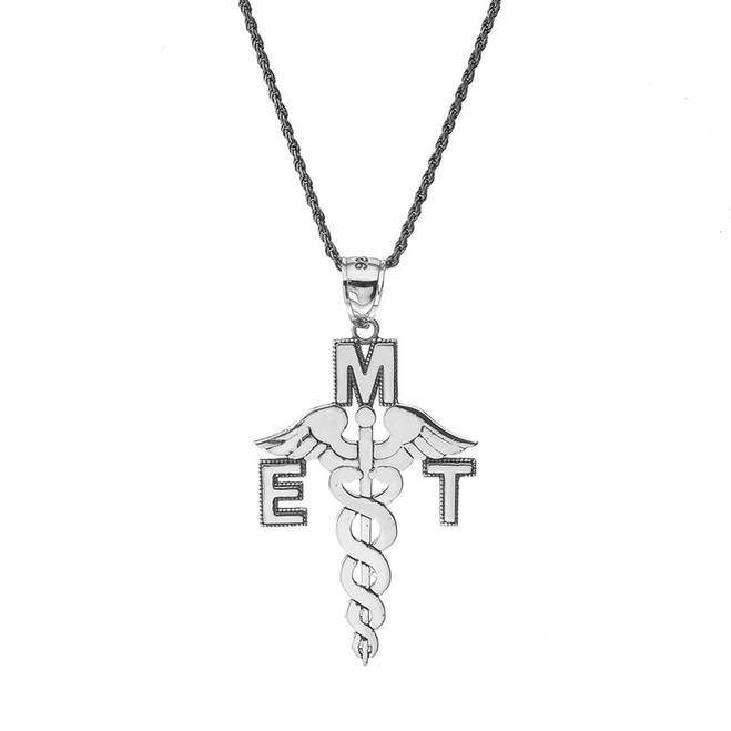 Vintage EMT Caduceus Pendant Necklace in Sterling Silver