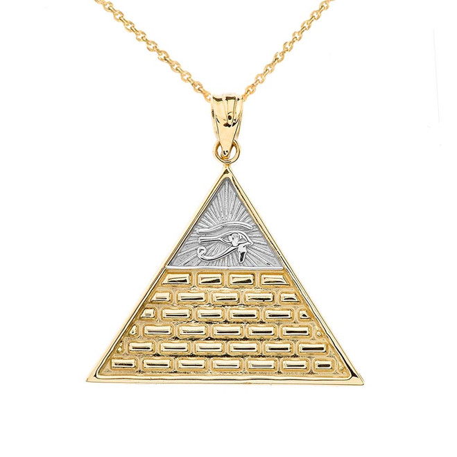 Eye of Horus Pyramid Pendant Necklace in Two-Tone Yellow Gold
