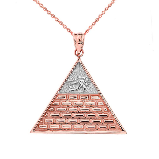 Eye of Horus Pyramid Pendant Necklace in Two-Tone Rose Gold