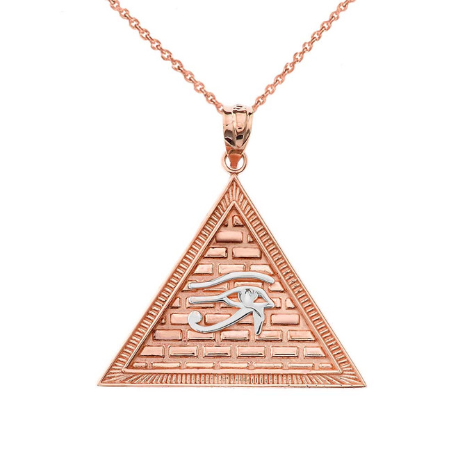 Egyptian Pyramid with Eye of Horus Pendant Necklace in Two-tone Rose Gold