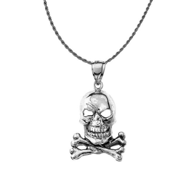 Oxidized Classic Skull & Bones Pendant Necklace in Sterling Silver