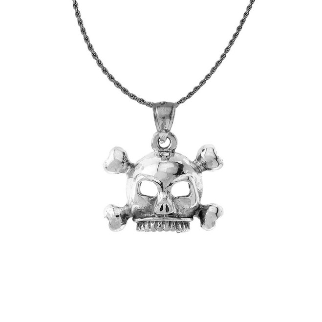 Vintage Style Skull & Bones Pendant Necklace in Sterling Silver