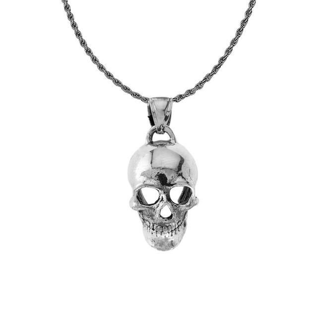 Classic Skull Pendant Necklace in Sterling Silver