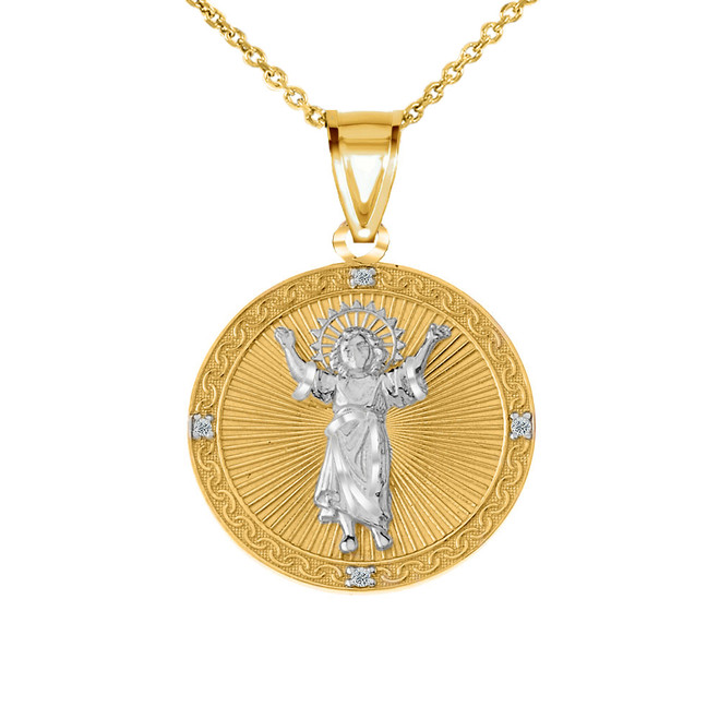 Diamond Divino Niño Jesus Round Medallion Pendant Necklace in Two Tone Yellow Gold