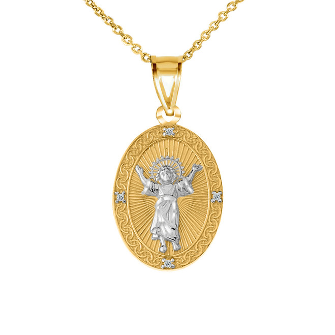 Diamond Divino Niño Jesus Oval Medallion Pendant Necklace in Two Tone Yellow Gold