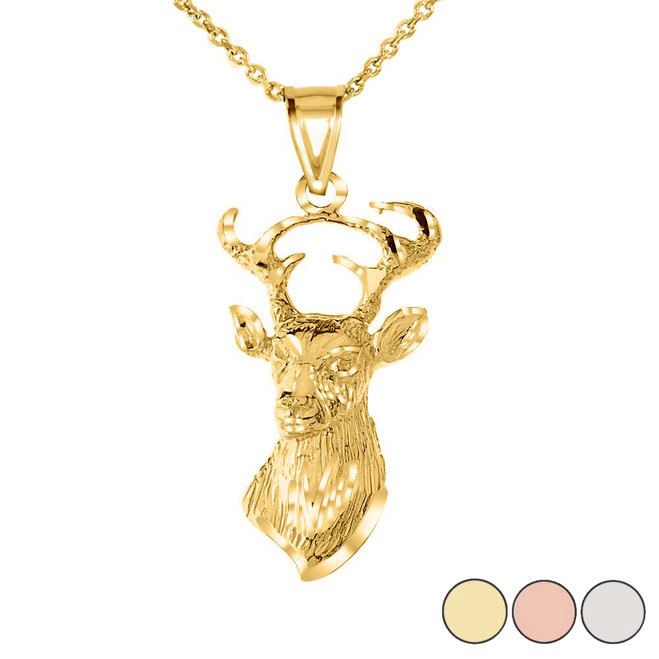 Textured Buck Deer Head Pendant Necklace in Gold (Yellow/Rose/White)
