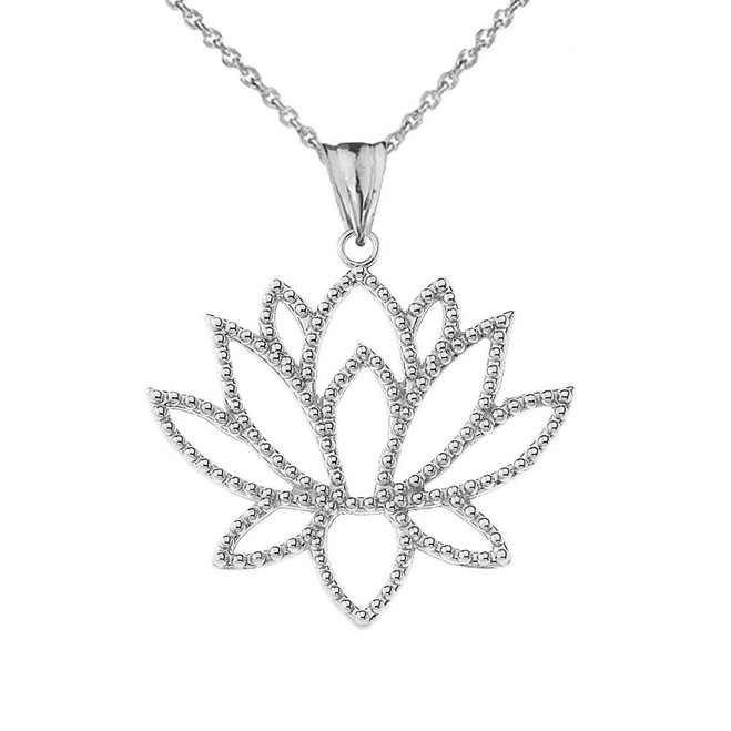 Double Sided Lotus Flower Pendant Necklace in White Gold