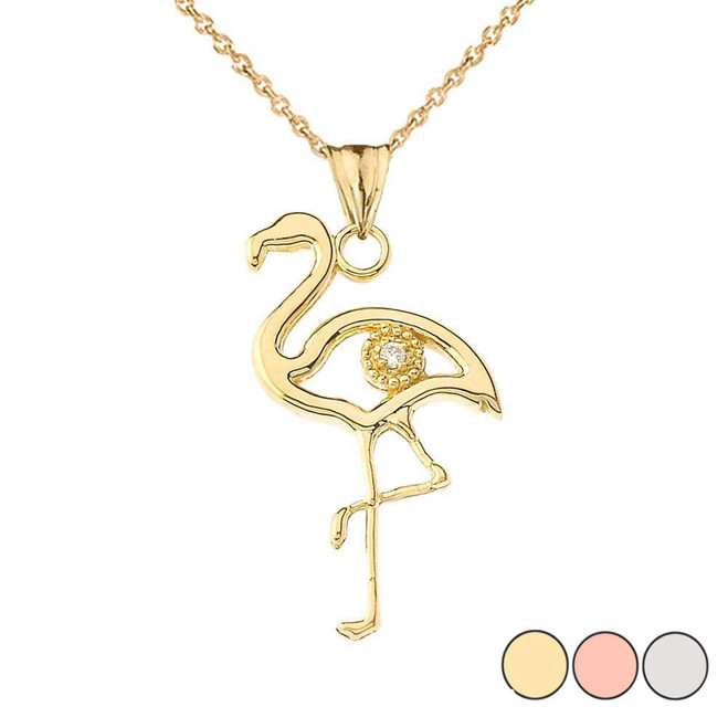 Diamond Flamingo Pendant Necklace in Gold (Yellow/Rose/White)