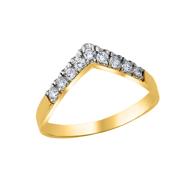 Pave Set Chevron Ring with CZ in Yellow Gold