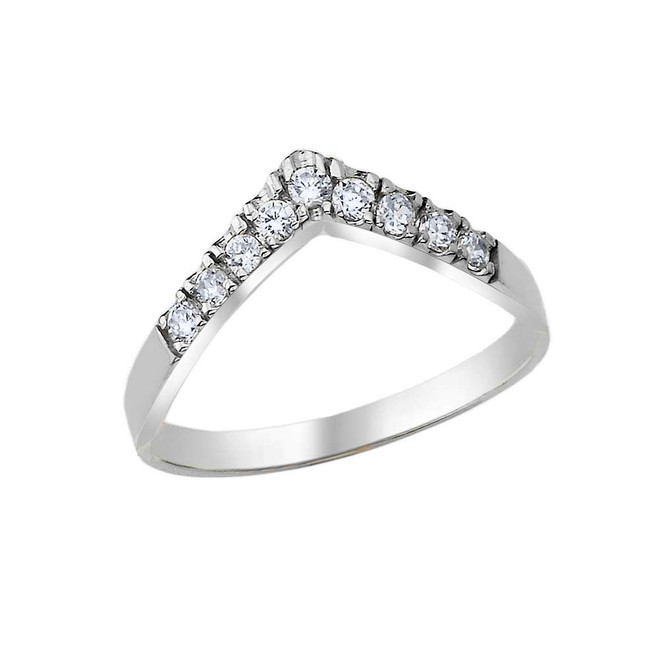 Pave Set Chevron Ring with CZ in .925 Sterling Silver