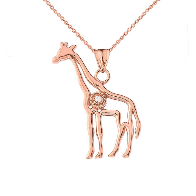 Diamond Giraffe Pendant Necklace in Rose Gold