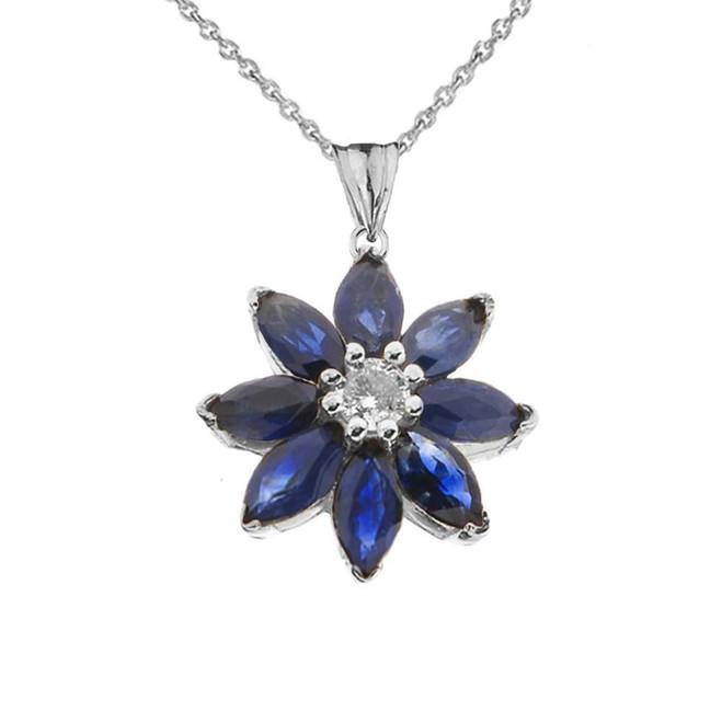 Genuine Sapphire and Diamond Daisy Pendant Necklace In White Gold