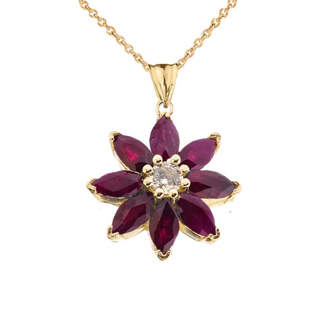 Genuine Ruby and Diamond Daisy Pendant Necklace In Yellow Gold
