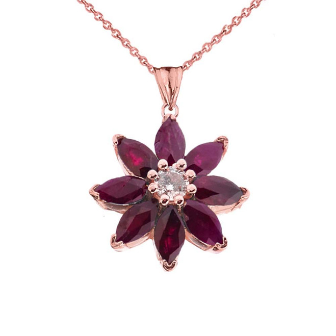 Genuine Ruby and Diamond Daisy Pendant Necklace In Rose Gold