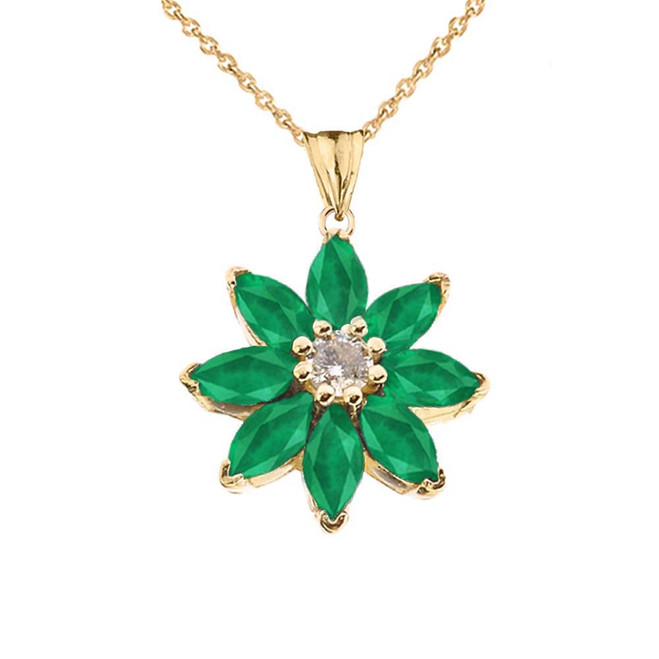 Emerald and Diamond Daisy Pendant Necklace In Yellow Gold