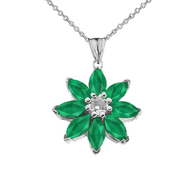 Emerald and Diamond Daisy Pendant Necklace In White Gold