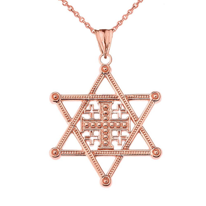 Star of David Jerusalem Cross Pendant Necklace in Rose Gold