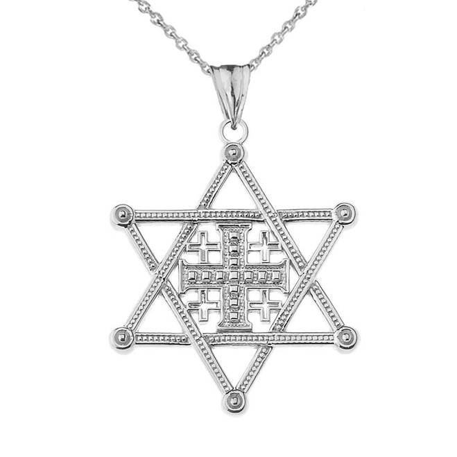 Star of David Jerusalem Cross Pendant Necklace in White Gold